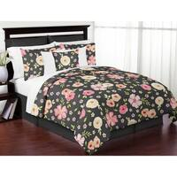 Sweet Jojo Designs Black and Pink Shabby Chic Watercolor Floral Collection Girl 3-piece Full / Queen-size Comforter Set