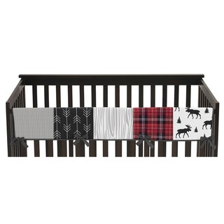 Sweet Jojo Designs Grey, Black and Red Woodland Plaid and Arrow Rustic Patch Collection Long Crib Rail Guard Cover