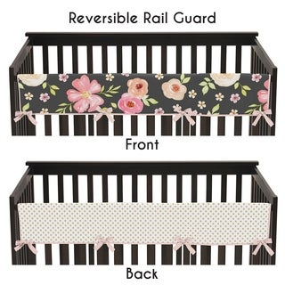 Sweet Jojo Designs Black, Blush Pink and Gold Watercolor Floral Collection Long Crib Rail Guard Cover