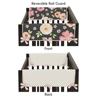 Sweet Jojo Designs Black, Blush Pink and Gold Watercolor Floral Collection Side Crib Rail Guard Covers (Set of 2)