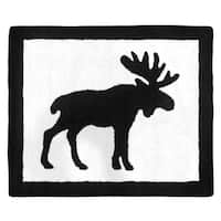 Sweet Jojo Designs Black and White Woodland Moose Rustic Patch Collection Accent Floor Rug (2.5' x 3')