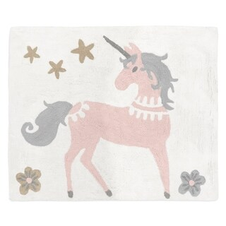 Sweet Jojo Designs Pink, Grey and Gold Unicorn Collection Accent Floor Rug (2.5' x 3')