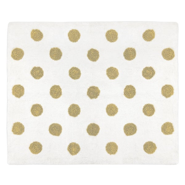 Sweet Jojo Designs Gold and White Polka Dot Watercolor Floral Collection Accent Floor Rug (2.5' x 3')