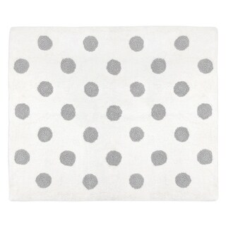 Sweet Jojo Designs Grey and White Polka Dot Watercolor Floral Collection Accent Floor Rug (2.5' x 3')