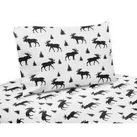 Sweet Jojo Designs Black and White Woodland Moose Rustic Patch Collection 3-piece Twin Sheet Set