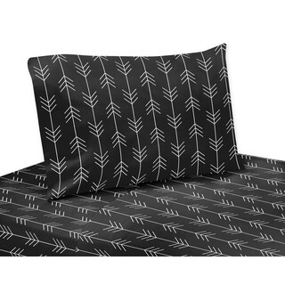 Sweet Jojo Designs Black and White Woodland Arrow Rustic Patch Collection 4-piece Queen Sheet Set