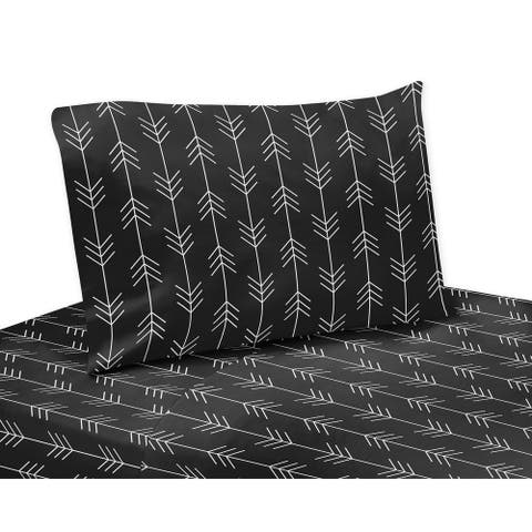 Sweet Jojo Designs Black and White Woodland Arrow Rustic Patch Collection 4-piece Queen Bed Sheet Set