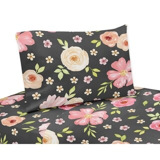 Sweet Jojo Designs Black and Blush Pink Watercolor Floral Collection 4-piece Queen Sheet Set