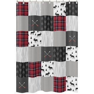 Sweet Jojo Designs Grey, Black Red Woodland Plaid And Arrow Rustic Patch  Collection Bathroom Fabric