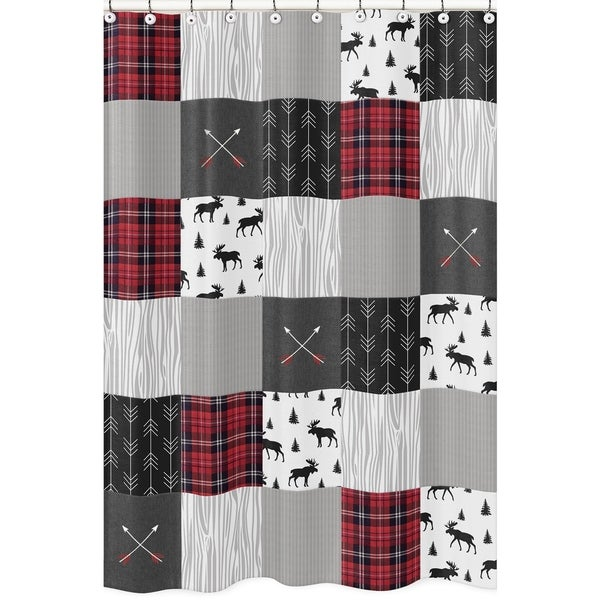 Shop Sweet Jojo Designs Grey Black Red Woodland Plaid And Arrow Rustic Patch Collection Bathroom Fabric Bath Shower Curtain