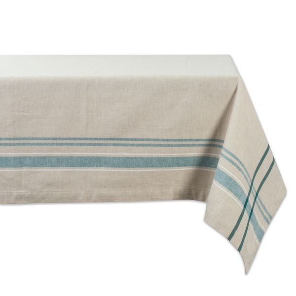 Design Imports Round French Stripe Kitchen Tablecloth 70 Inch Wide X 70 Inch Long Overstock 21218658