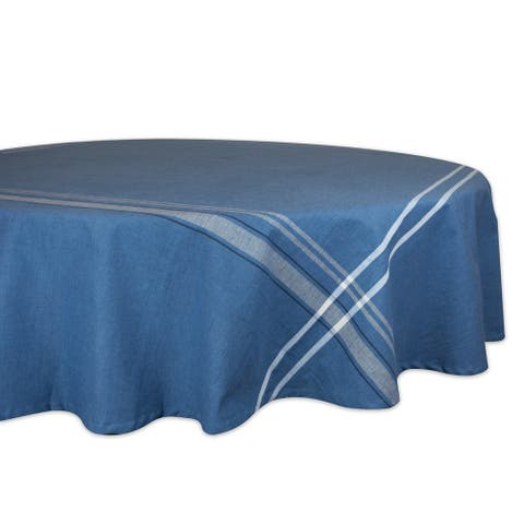 Design Imports Round French Stripe Kitchen Tablecloth (70 Inch Wide x 70 Inch Long)