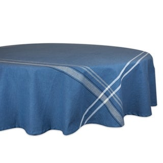 Design Imports Round Nautical Blue French Stripe Kitchen Tablecloth (70 Inch Wide x 70 Inch Long)