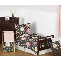 Sweet Jojo Designs Black, Pink and Gold Shabby Chic Watercolor Floral Collection Girl 5-piece Toddler-size Comforter Set