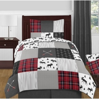 Sweet Jojo Designs Grey, Black and Red Woodland Plaid and Arrow Rustic Patch Collection Boy 4pc Twin-size Comforter Set