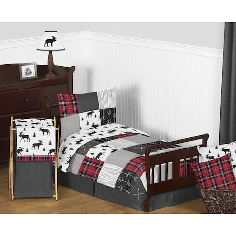 Sweet Jojo Designs Grey Black Red Woodland Plaid and Arrow Rustic Patch Collection Boy 5pc Toddler-size Comforter Set