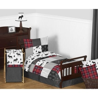 Link to Sweet Jojo Designs Grey Black Red Woodland Plaid and Arrow Rustic Patch Collection Boy 5pc Toddler-size Comforter Set Similar Items in Kids Comforter Sets