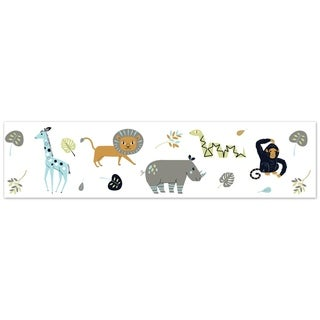 Sweet Jojo Designs Navy Blue, Turquoise, Lime Green, Orange, Grey and White Mod Jungle Collection Wallpaper Wall Border
