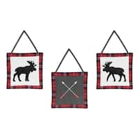 Sweet Jojo Designs Grey, Black and Red Woodland Plaid and Arrow Rustic Patch Collection Wall Hangings (Set of 3)