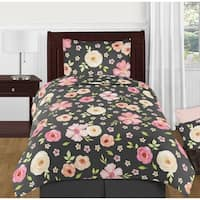 Sweet Jojo Designs Black and Blush Pink Shabby Chic Watercolor Floral Collection Girl 4-piece Twin-size Comforter Set