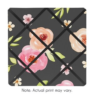 Sweet Jojo Designs Black and Blush Pink Watercolor Floral Collection 13-inch Fabric Memory Photo Bulletin Board