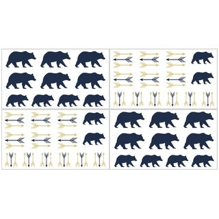Sweet Jojo Designs Navy Blue, Gold, and White Big Bear Collection Wall Decal Stickers