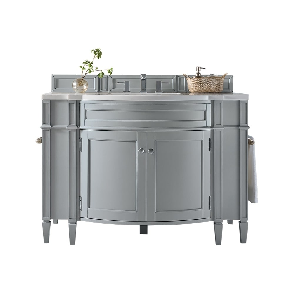 Brittany 46 Single Vanity, Urban Gray (3cm snow white quartz top)