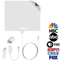 FIVESTAR Indoor Antenna Amplified HD TV 4K up to 100 Mile TV Antenna plus Amplifier Signal Booster USB Cable