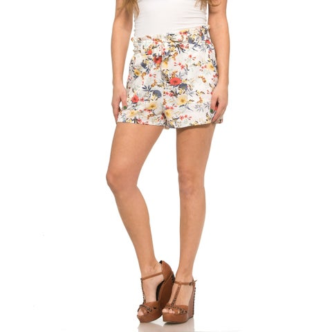 Ladies Floral Printed Linen Shorts with Belt