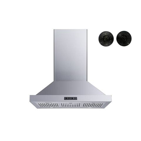 """Winflo 30"""" Convertible Island Mount Range Hood with Carbon Filters"""