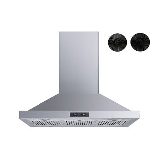 """Winflo 36"""" Convertible Island Mount Range Hood with Carbon Filters"""