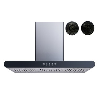 """Winflo O-WH152C36DF 36"""" 400 CFM Convertible Island Mount Range Hood with Carbon Filters"""