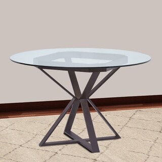 "Cairo Round Dining Table in Auburn Bay Finish and 48"" Glass Top - Brown"
