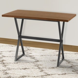 Armen Living Valencia Contemporary Rectangular Bar Table in Mineral Finish with Grey Walnut Wood Top - N/A