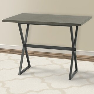 Armen Living Valencia Contemporary Rectangular Bar Table in Mineral Finish with Walnut Wood Top - N/A