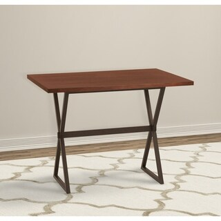Armen Living Valencia Contemporary Rectangular Bar Table in Auburn Bay Finish with Sedona Wood Top - N/A