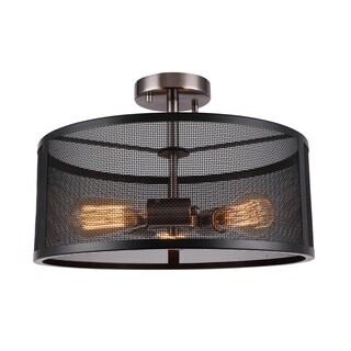 Woodbridge Lighting 18035BAN-ST64 Drake 3-Light Semi-flush w/ ST64 Bulb