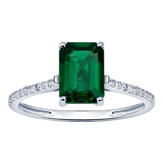 10K White Gold 1.12ct TW Emerald and Diamond Ring - Green