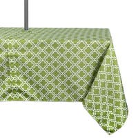Design Imports Green Lattice Outdoor Tablecloth with Zipper