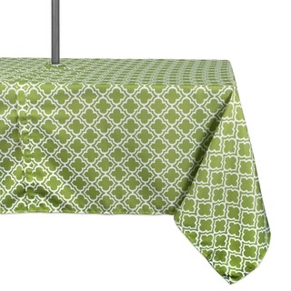 Design Imports Green Lattice Outdoor Tablecloth with Zipper (More options available)