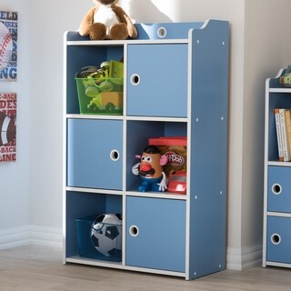 Contemporary Blue and White 3-Door Bookcase by Baxton Studio