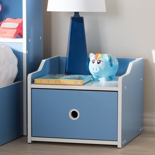 Contemporary Blue and White Nightstand by Baxton Studio