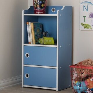 Contemporary Blue and White 2-Door Bookcase by Baxton Studio