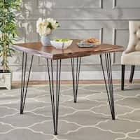 Chana Industrial Faux Live Edge Square Dining Table by Christopher Knight Home - natural + black