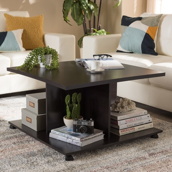 Contemporary Dark Brown Coffee Table By Baxton Studio