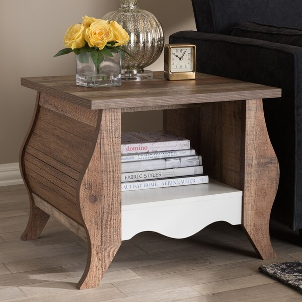 Country Cottage Oak End Table by Baxton Studio