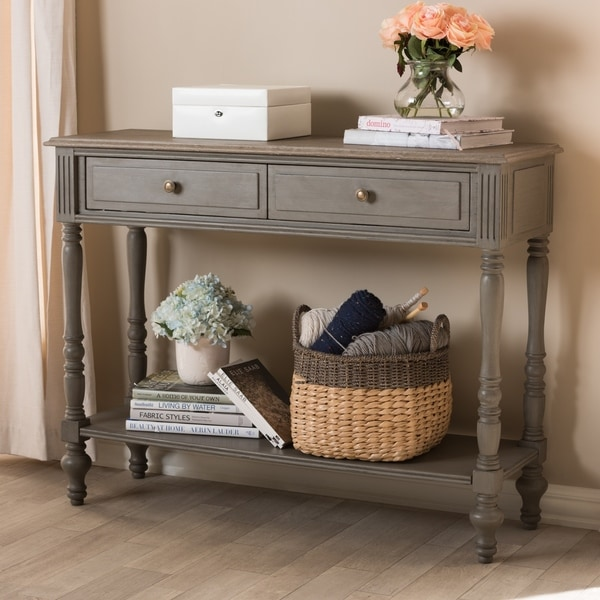 Shop Country Cottage Brown Drawer Console Table By Baxton Studio - Country cottage console table
