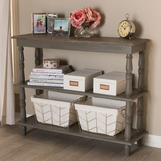 Country Cottage Brown 2-Shelf Console Table by Baxton Studio