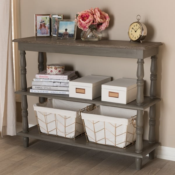 Country Cottage Brown 2 Shelf Console Table By Baxton Studio