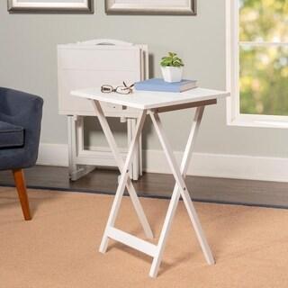 Powell Alston White Rubberwood 5-piece Tray Table Set